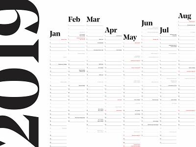 2019 Calendar minimal calendar saentys