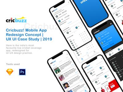 Cricbuzz! Mobile App Redesign Concept | UX UI Case Study | 2019