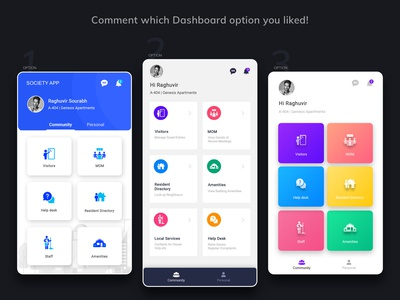 Society Management App | Home Page UX UI Design | 2019