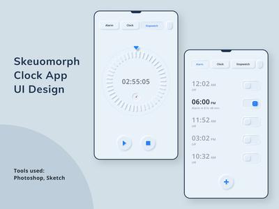 Skeuomorph Clock App Design