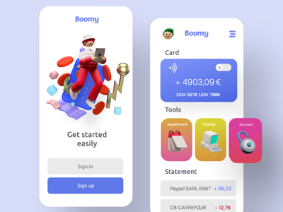 Boomy - Bank & business app 3d minimalist design webdesign app xd adobexd uxui ux ui design ui