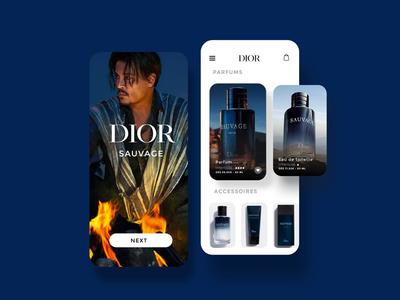 Dior concept app «SAUVAGE» parfume UI/UX Design