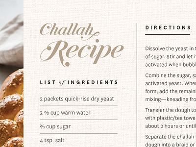 Challah Recipe burlap bread flour ingredients card recipe challah