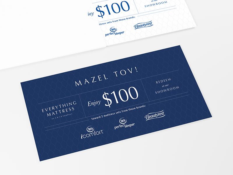 Mattress Coupon inverted grid typography promo coupon mattress