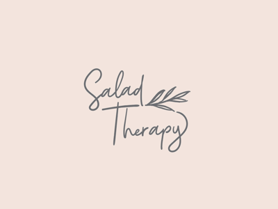 Salad Therapy blog foodie therapy salad herbs lettuce leaves handwritten logo