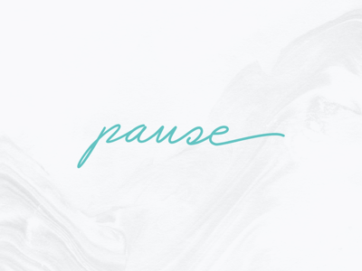 Pause shabbat marble script logo pause