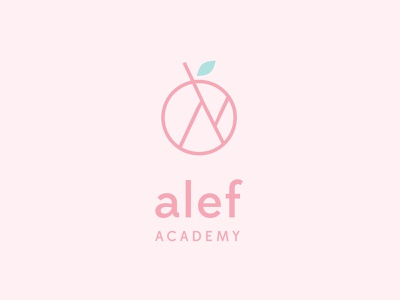 Alef Academy academy leaf geometric apple alef logo preschool reggio