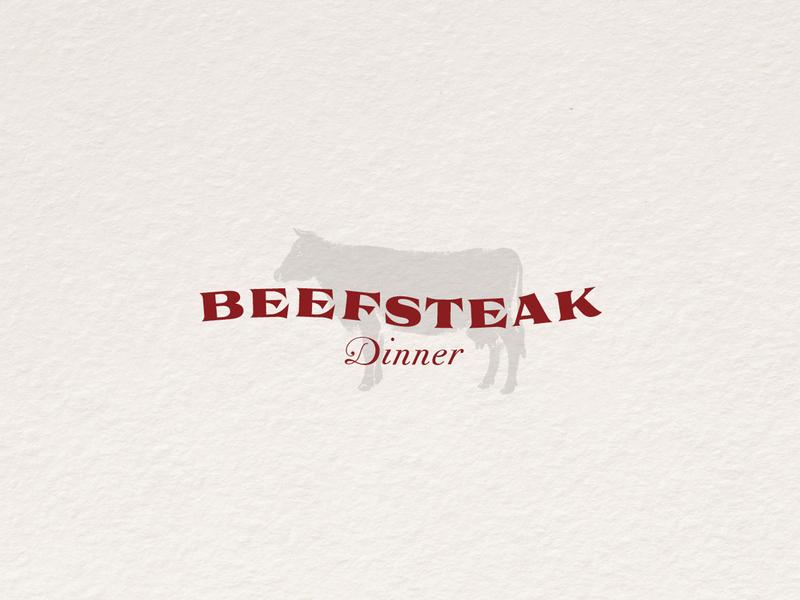 Beefsteak Dinner Logo typographic vintage logo dinner beefsteak
