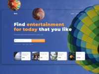 The design of the main page search service entertainment