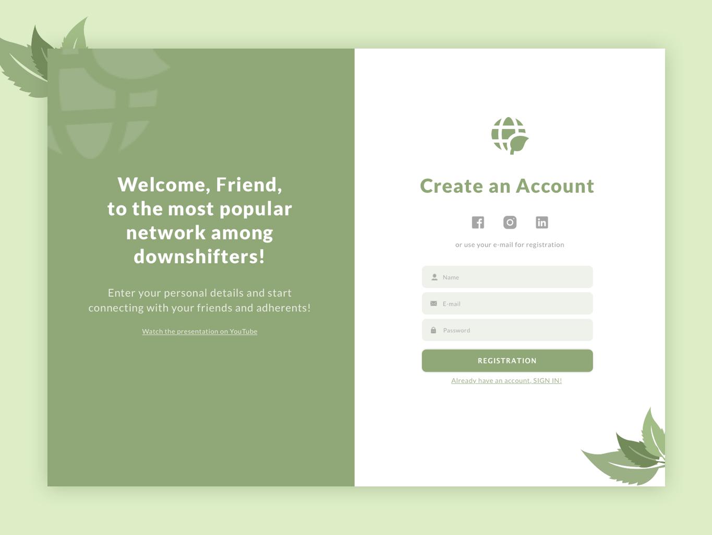 Exploring the variations for registration page sign in design white green social network form web ui registration