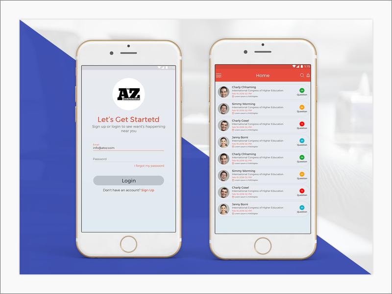 A To Z Conference ui design mobile app design