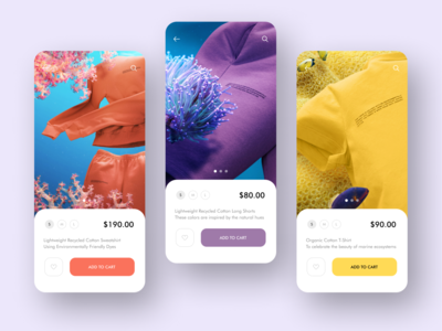 Online shop mobile app ocean uiux search order online shop mobile design mobile minimal homepage flat ecommerse sea coral digital delivery clothes cart branding app design add to cart