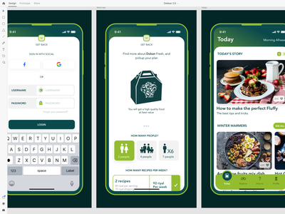 Dokan App 2.0 delivery fresh food food locations friends people ios app design ux ui