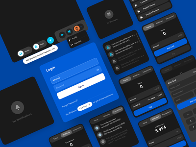 Dark Cards tasks user dropdown wallet card withdraw sign in page notifications dashboard design dashboard app design ux ui