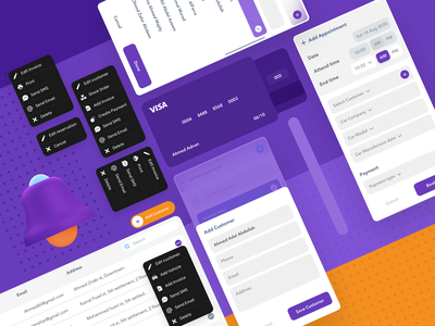 Dashboard Elements time date cards ui notifications submenus menus cards dashboard app design ux ui