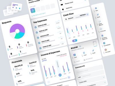 McLedger iOS Cards - Bookkeeping simplified expenses daft income fund scan items invoice design charts invoice cash ios app design ux ui