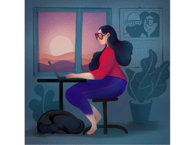 Tiny Home Office work illustration design tine procrete office girl flat dog