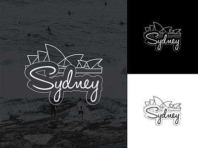 Sydney illustration stciker white black ocean surf sydney opera house sydney sticker design vector lines flat illustration illustrator