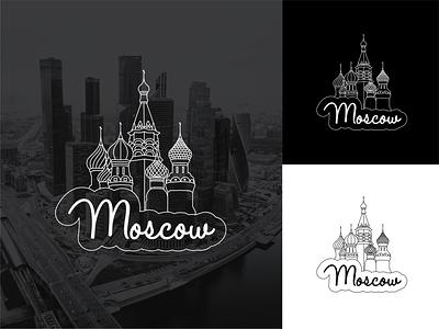 Illustration Moscow kremlin skyscraper moscow white black vector sticker lines illustration flat design illustrator