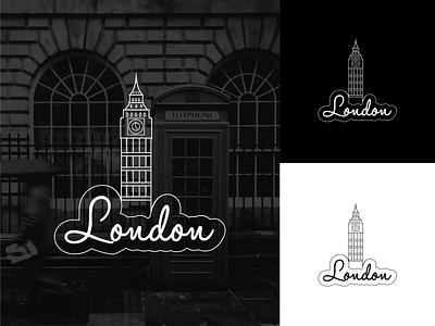 London illustration box telephone red big ben london white black vector sticker lines illustrator illustration flat design