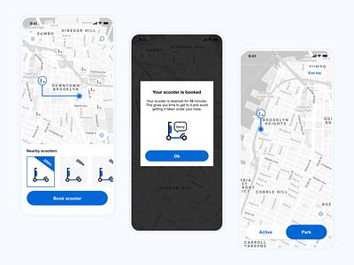 Scooter Rental app sketch ui design uxui commute transport book electric sharing renting rent rental app scooter app design mobile app mobile ui