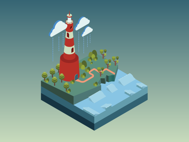 Lighthouse lighthouse vector water isometric illustration isometric design isometric art isometric illustration gradient calm building