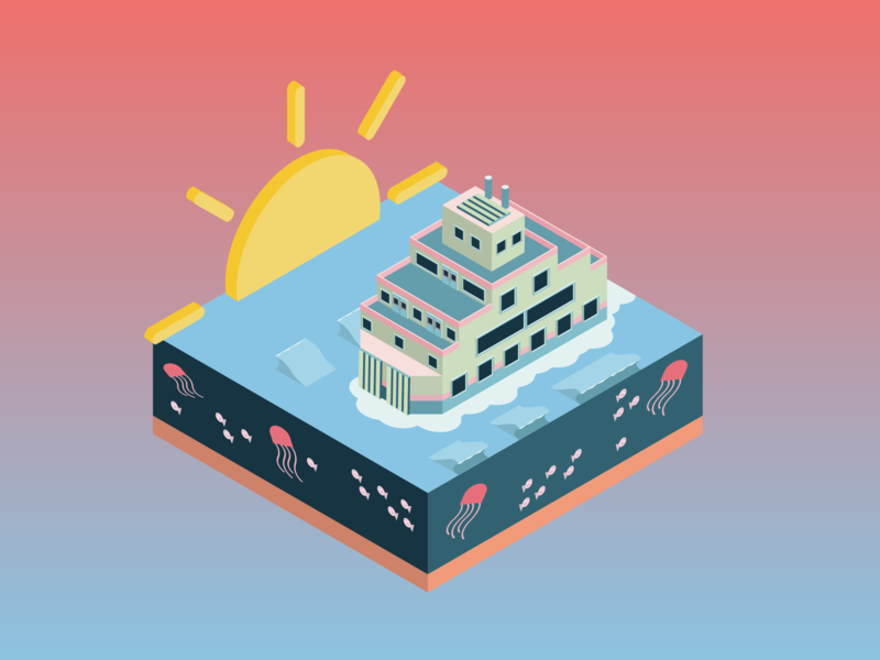 Ferry Cross The Mersey blue fish jellyfish sunset ferry boat water sea vector isometric illustration isometric design isometric art isometric illustration