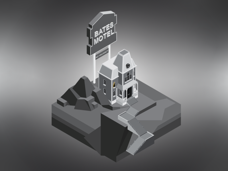 Bates Motel / Psycho 1960 alfred hitchcock hitchcock iso retro filmnoir film psycho blackandwhite black and white black building vector isometric illustration isometric design isometric art isometric illustration