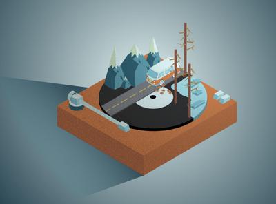 Vinyl Roadtrip vinyl record record roadtrip 1970 vintage vinyl album 1960 water gradient calm vector isometric illustration isometric design isometric art isometric illustration