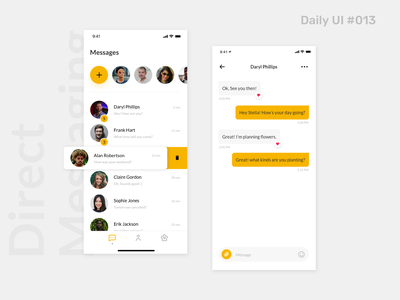 Daily UI #013 - Direct Messaging daily 100 challenge product user experience clean dailyui013 profile messaging inbox message app interface dailyui conversation communication chat