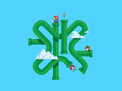 Super Mario Bros. Logo Variation (Nurun) logo design logodesign mariobros mario 8-bit vector ux animation design