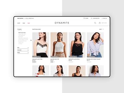 Dynamite Clothing - Product Page fashion ecommerce shop fashion brand fashion design ux ui design