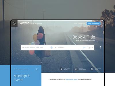 Mozio - Landing Page booking homepage branding design