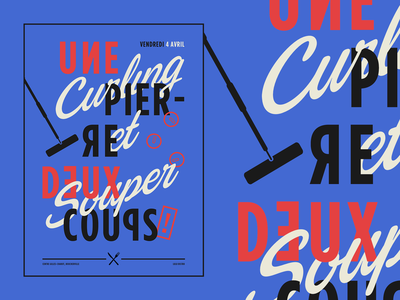 Curling et Souper: Typography Art typography art curling poster a day poster design poster art vector typography minimal illustration design