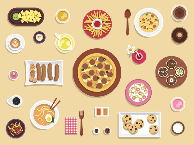 Queen Gilliant's Quest - Food & Drinks game drinks food illustration food game art vector