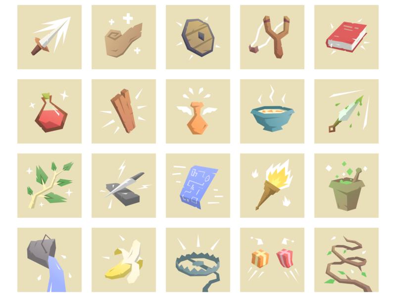 Card Game Illustrations shield banana blade potion card game art game illustration