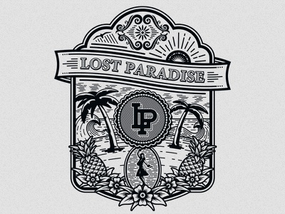 Lost Paradise deonic lost paradise clothing apparel tshirt vector beach palm waves pineapple flower illustration