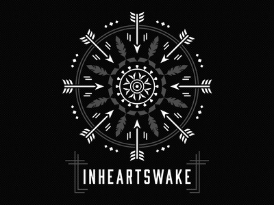 In Hearts Wake deonic in hearts wake t-shirt band merch vector arrow feather