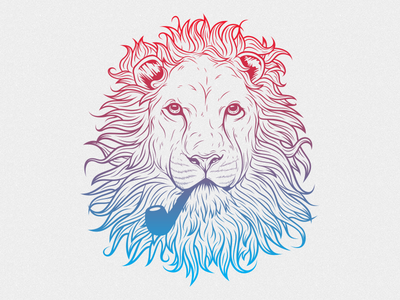 Lionize Me! illustration beard smoking pipe wild lion animal t-shirt vector deonic