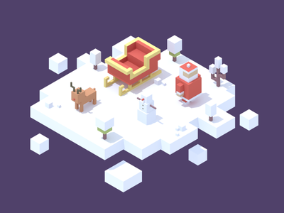 Merry Christmas low poly isometric blender 3d snowman snow rudolph santa holiday christmas