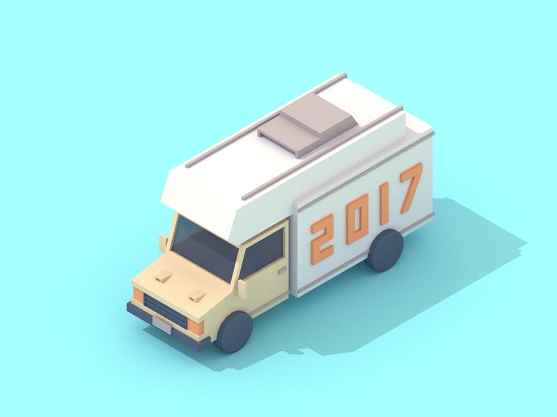 2017 vehicle low poly 3d isometric truck van