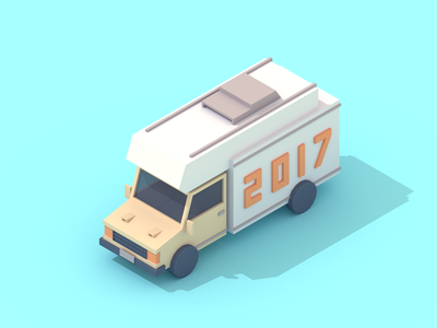 2017 vehicle low poly 3d isometric truck van
