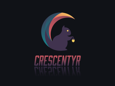 Crescentyr Logo - Dark moon crescent squirrel animal icon logo game crescentyr