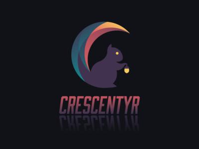 Crescentyr Logo - Dark moon crescent squirrel animal icon logo game crescentyr