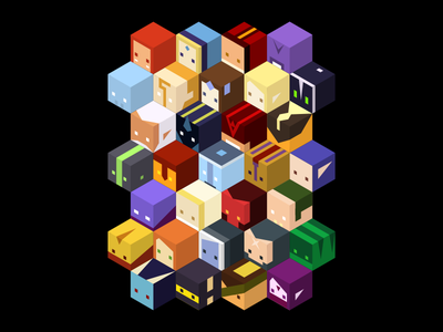 Dota 2 - Cube Heroes isometric tee block hero merch tshirt cube dota