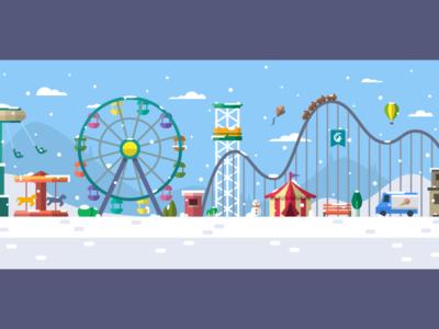 Snowy Amusement Park ferris wheel theme park amusement park illustration vector colorful flat christmas park snow