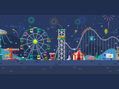 Snowy Amusement Park at Night illustration vector snow theme park ferris wheel colorful night fireworks new year amusement park