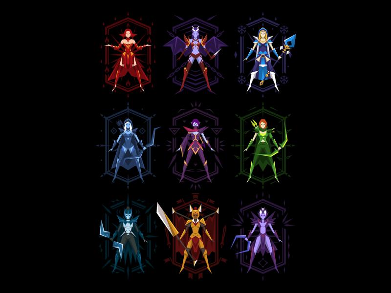 Dota 2 - Superheroines vector female girl heroines illustration t-shirt game dota 2 dota