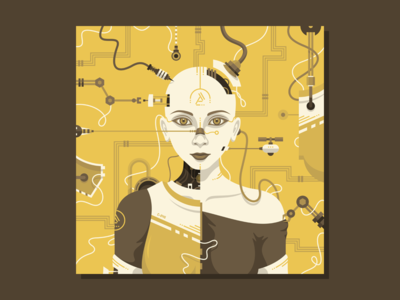 C-245 vector illustration machine future cyber female women android robot