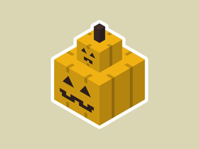 Papamkin and Pumpkid cute square vector isometric spooky halloween pumpkin